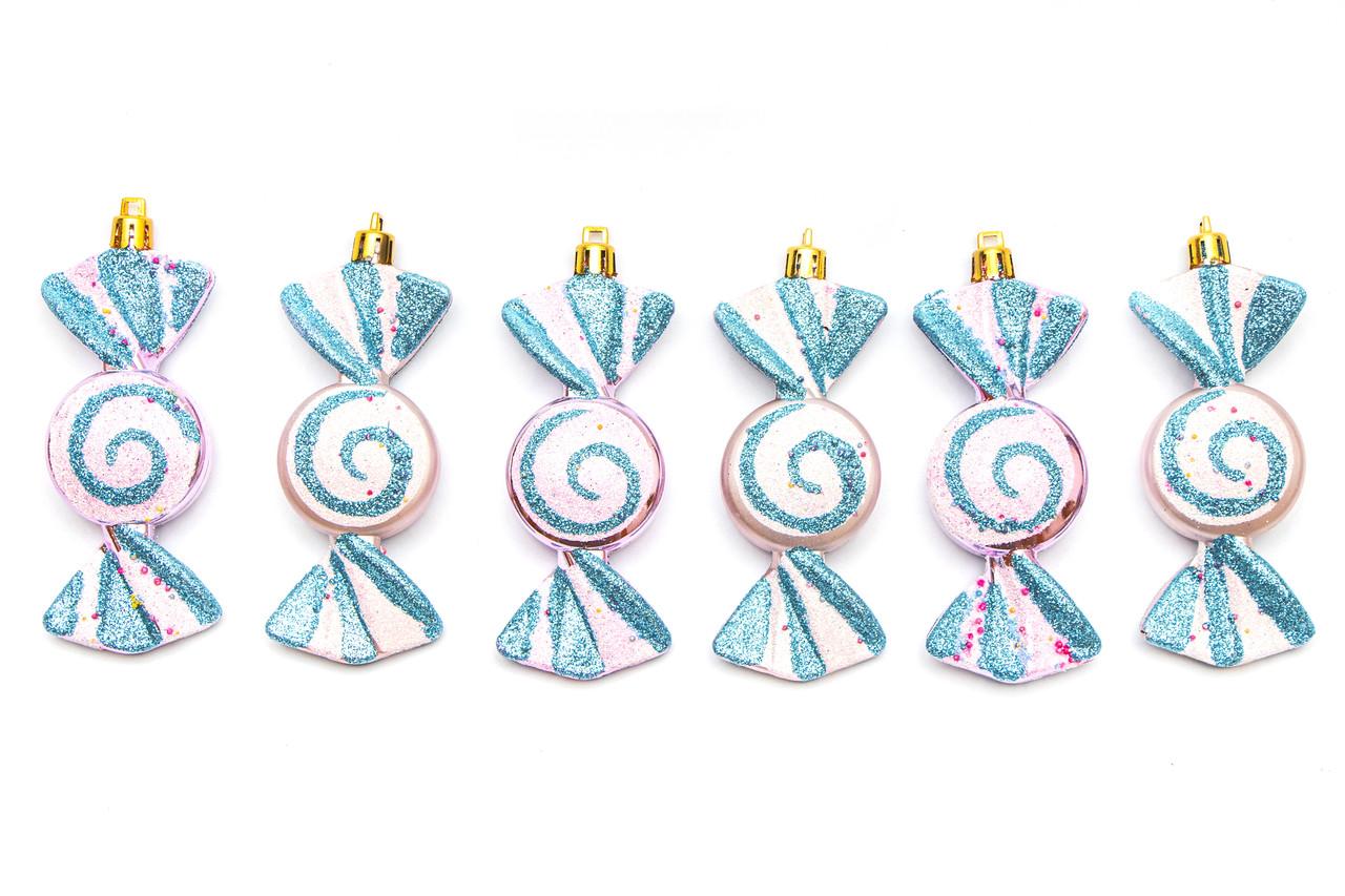 Набор елочных игрушек - конфета, 6 шт, 10 см, белый, пластик (031573)