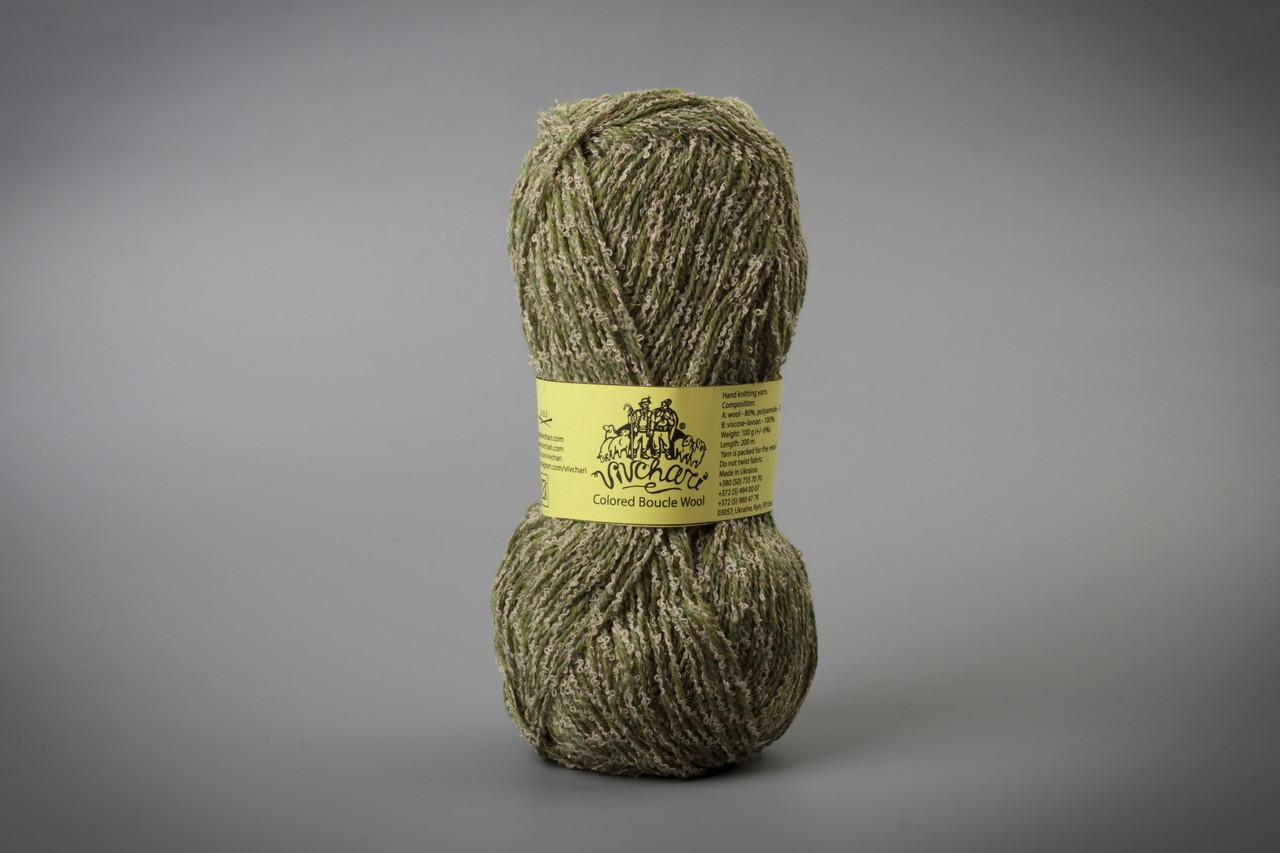 Пряжа полушерстяная Vivchari Colored Boucle Wool, Color No.902 беж букле + оливка