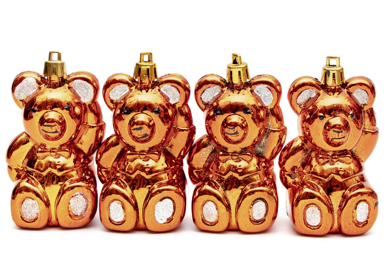 Набор елочных игрушек - мишка, 4 шт, 8 см, золотистый, пластик (032990)