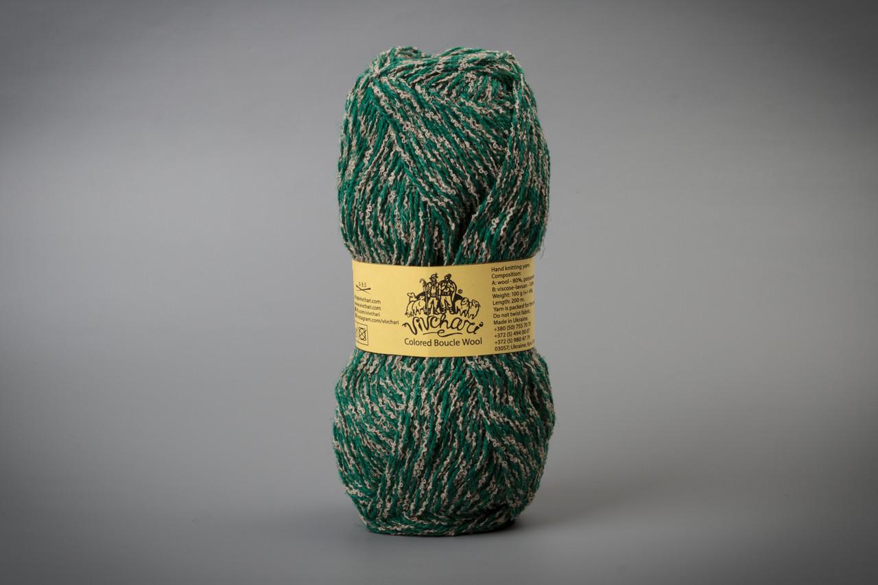 Пряжа полушерстяная Vivchari Colored Boucle Wool, Color No.903 беж букле + зеленый