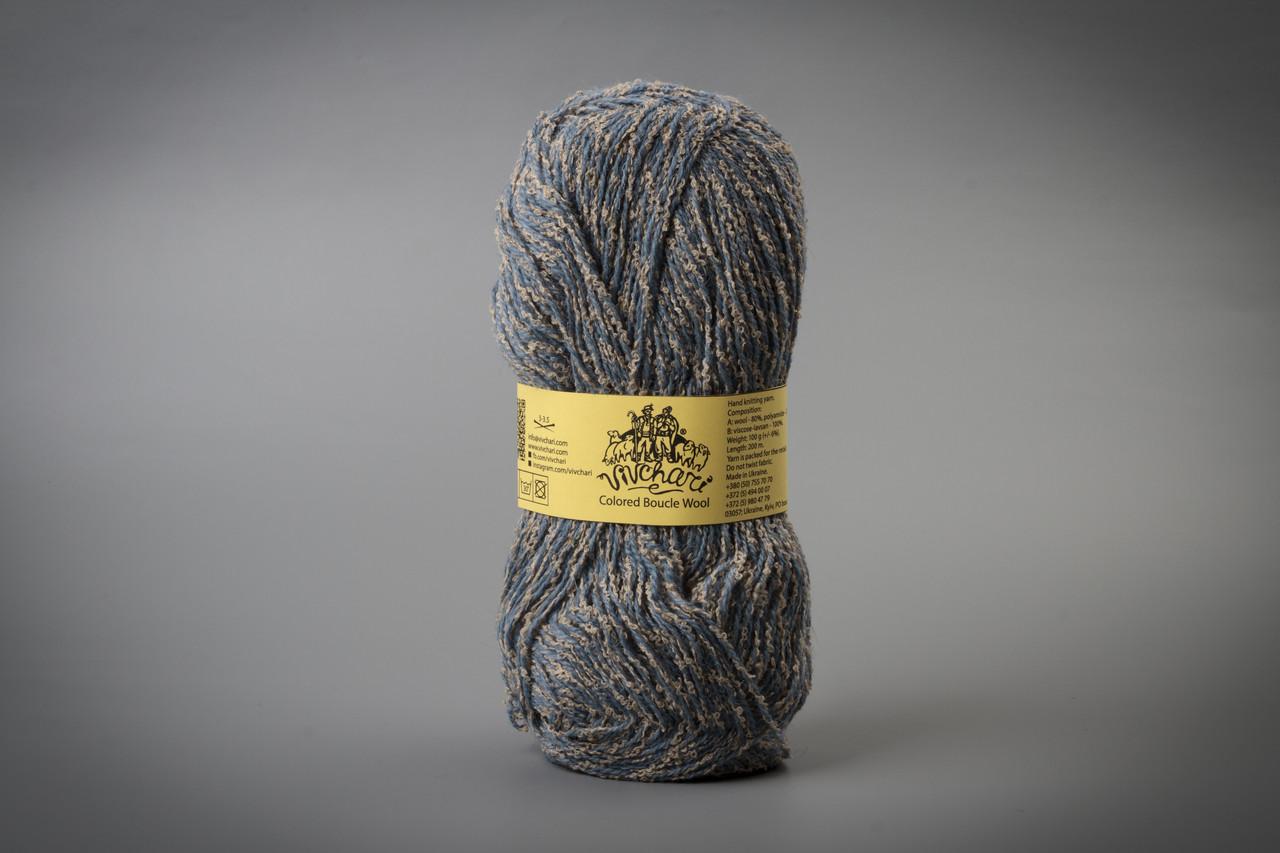 Пряжа полушерстяная Vivchari Colored Boucle Wool, Color No.905 беж букле + серо-голубой