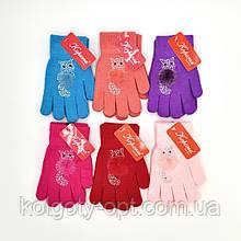 Перчатки на девочек трикотаж с аппликациями