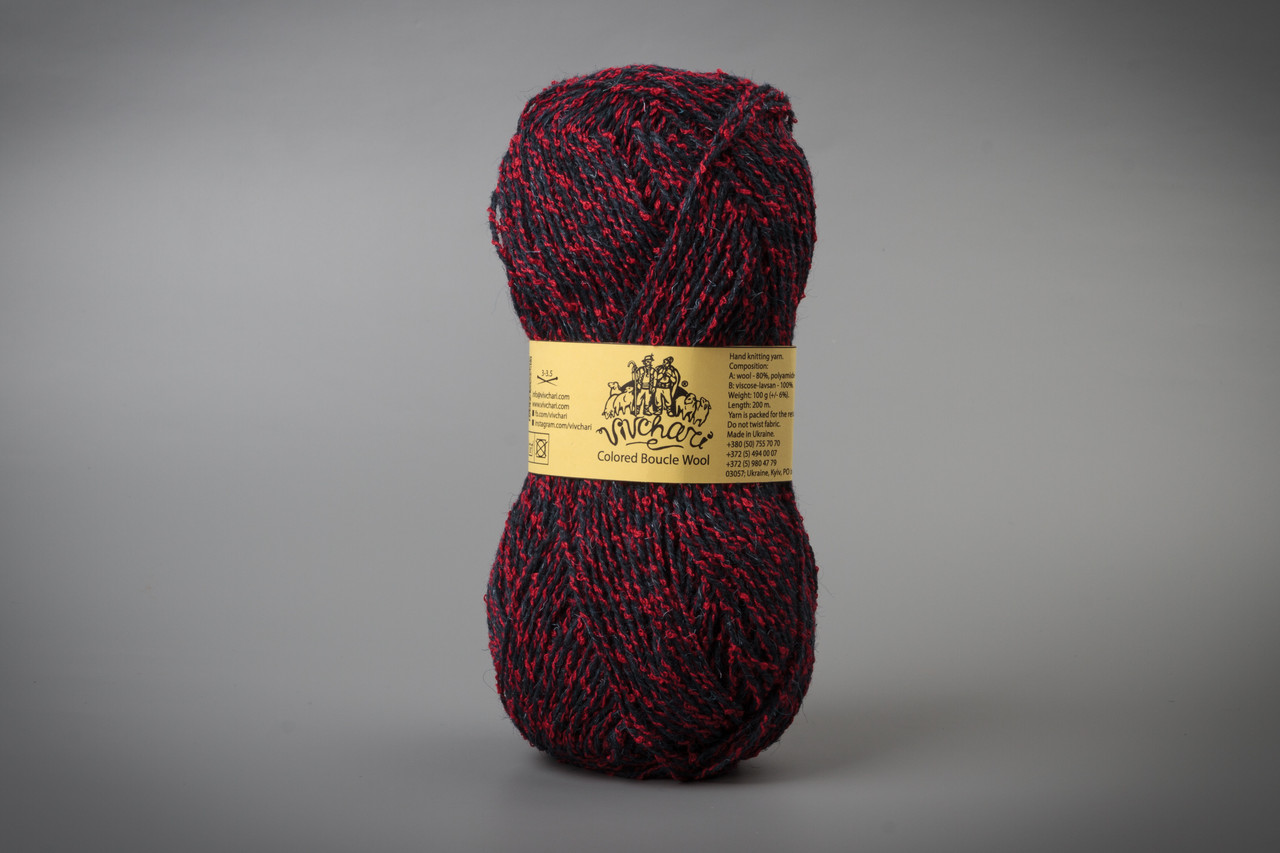 Пряжа полушерстяная Vivchari Colored Boucle Wool, Color No.908 красный букле + темно-синий