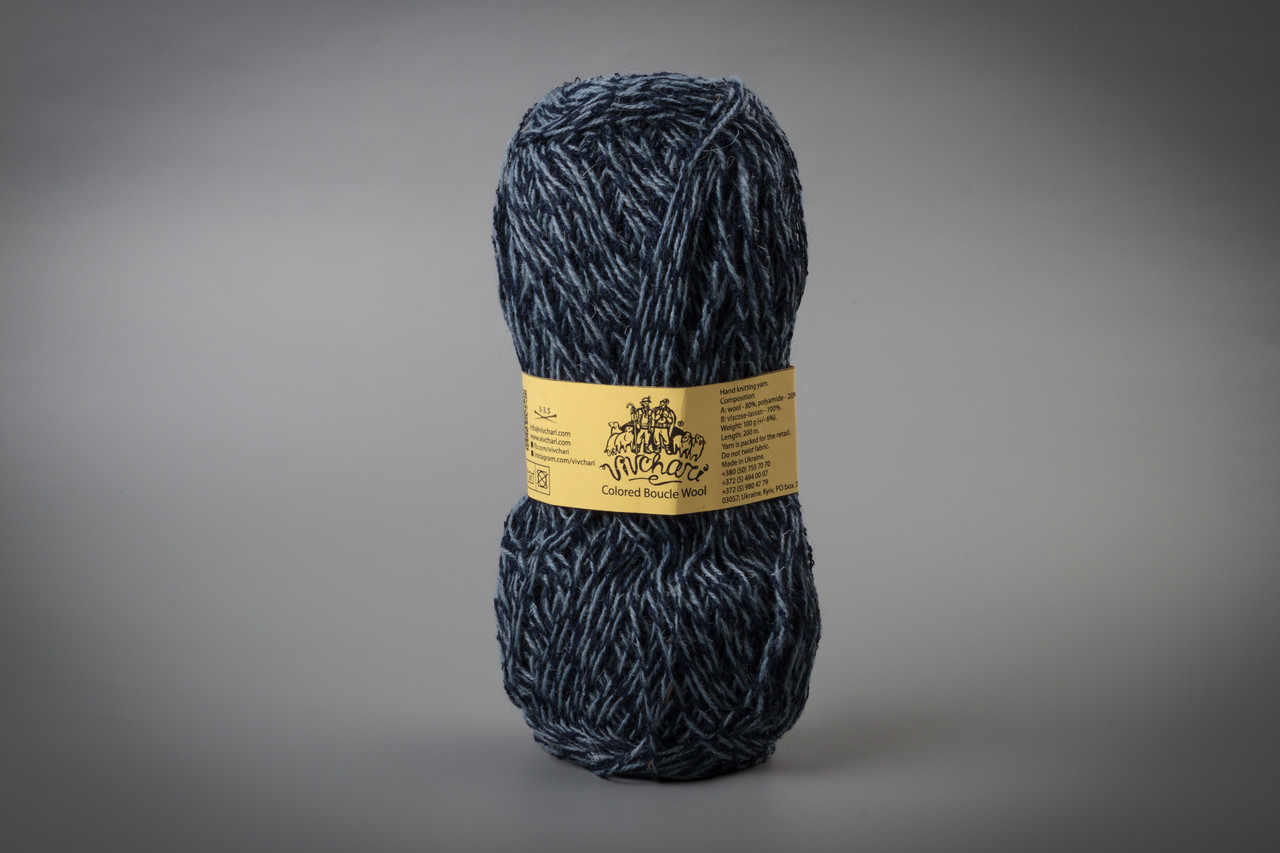 Пряжа полушерстяная Vivchari Colored Boucle Wool, Color No.909 синий букле + серо-голубой