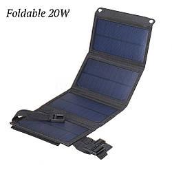 Сонячна панель водозахисна зарядний пристрій Foldable 20W, на 1 USB вихід, 5В/2А, Чорний
