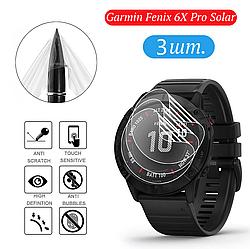 Защитная гидрогелевая пленка для умных часов Garmin Fenix 6X Pro Solar, диаметр 40мм, 3 штуки в комплекте