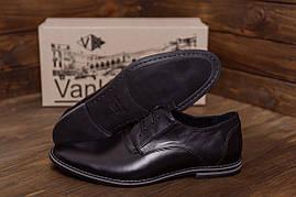 Мужские классические черные туфли на шнуровке из натуральной кожи