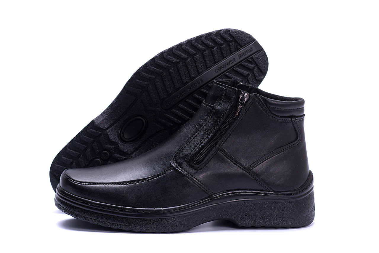 Зимние мужские сапоги из кожи черного цвета