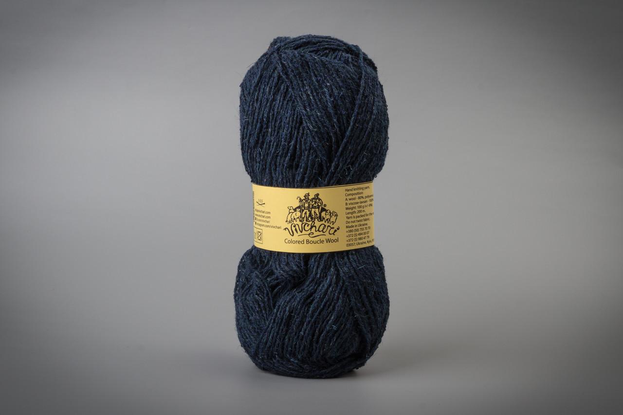 Пряжа полушерстяная Vivchari Colored Boucle Wool, Color No.911 синий букле + темно-синий
