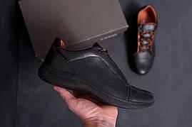 Осенние мужские ботинки из кожи черные ) 44,45