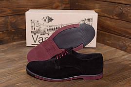 Мужские классические черные туфли на шнуровке из натуральной замши