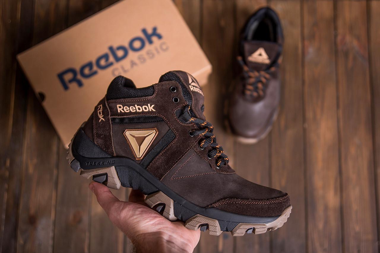 Мужские ботинки на толстой подошве коричневого цвета кожа для зимы Reebok Crossfit Brown (реплика)