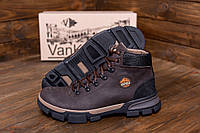 Кожаные мужские высокие ботинки коричневые, фото 1