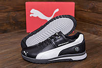 Мужские кроссовки для зимы из кожи Puma BMW MotorSport Black Pearl (реплика)
