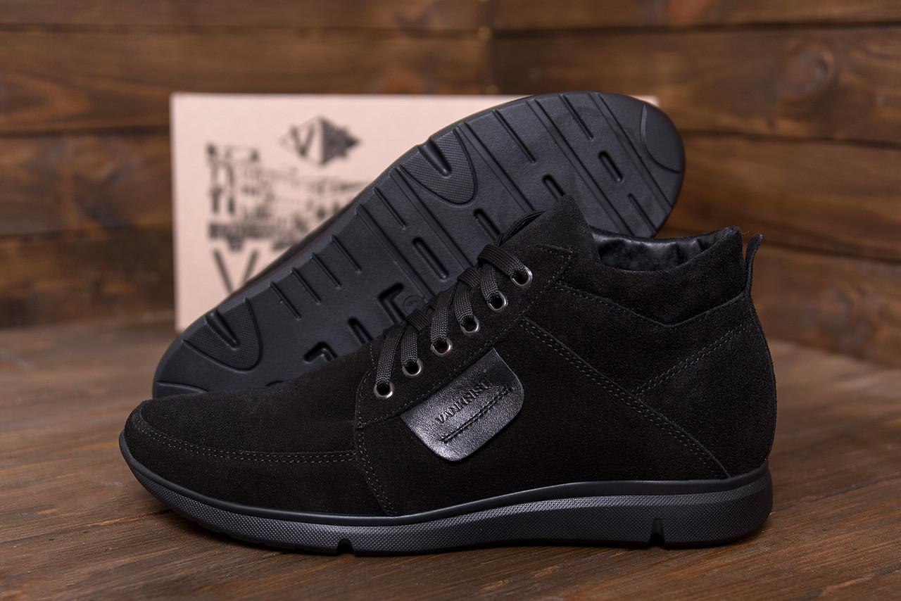 Замшевые мужские ботинки классические в черном цвете