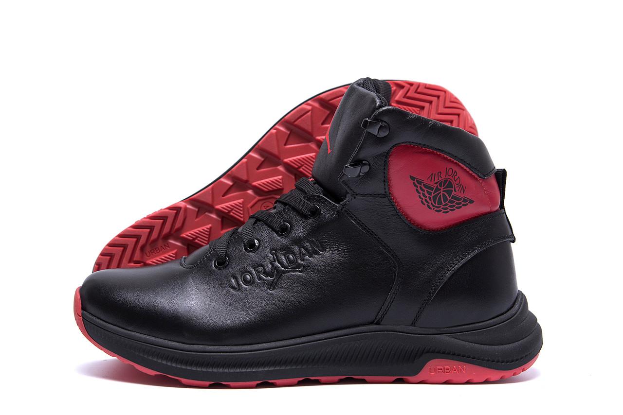 Высокие мужские ботинки спортивные черного цвета в натуральной кожи Jordan Black (реплика)