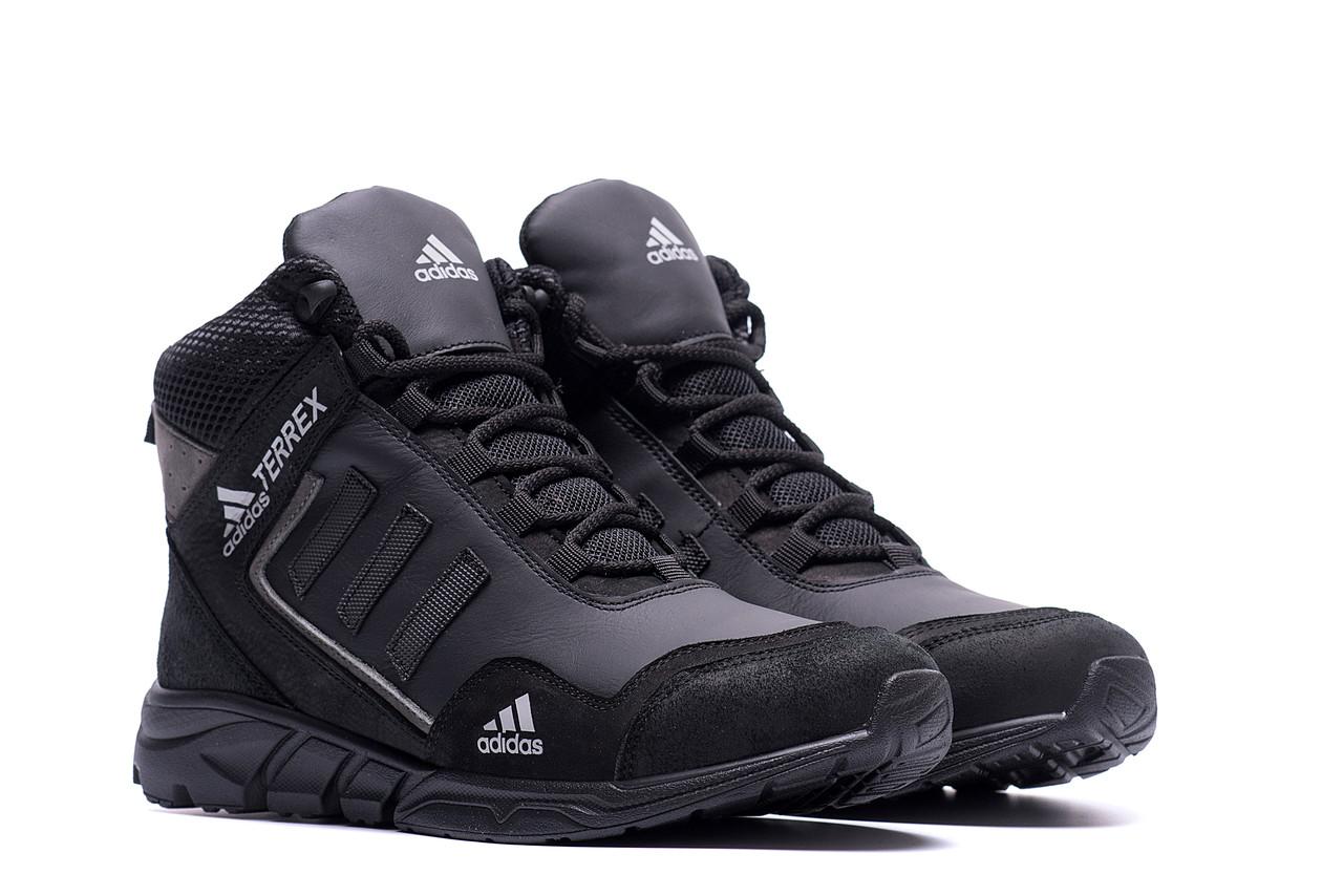Высокие зимние мужские кроссовки черного цвета  Adidas (реплика)