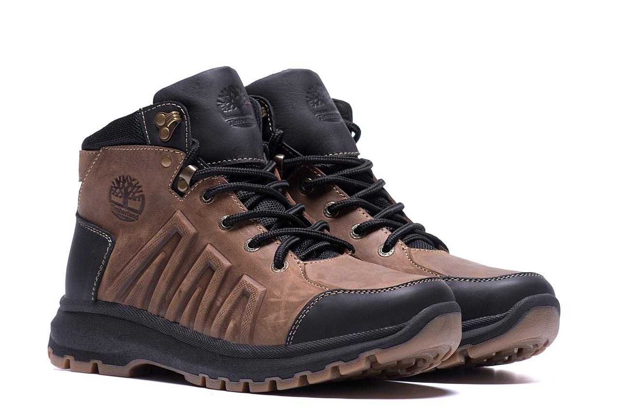 Коричневые мужские ботинки кожаные на меху Timberland  (реплика)