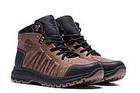 Коричневые мужские ботинки кожаные на меху Timberland  (реплика), фото 1