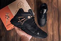 Кожаные мужские кроссовки , ботинки черного цвета зима