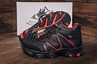 Ботинки зимние кожаные черного цвета с красными вставками, фото 1