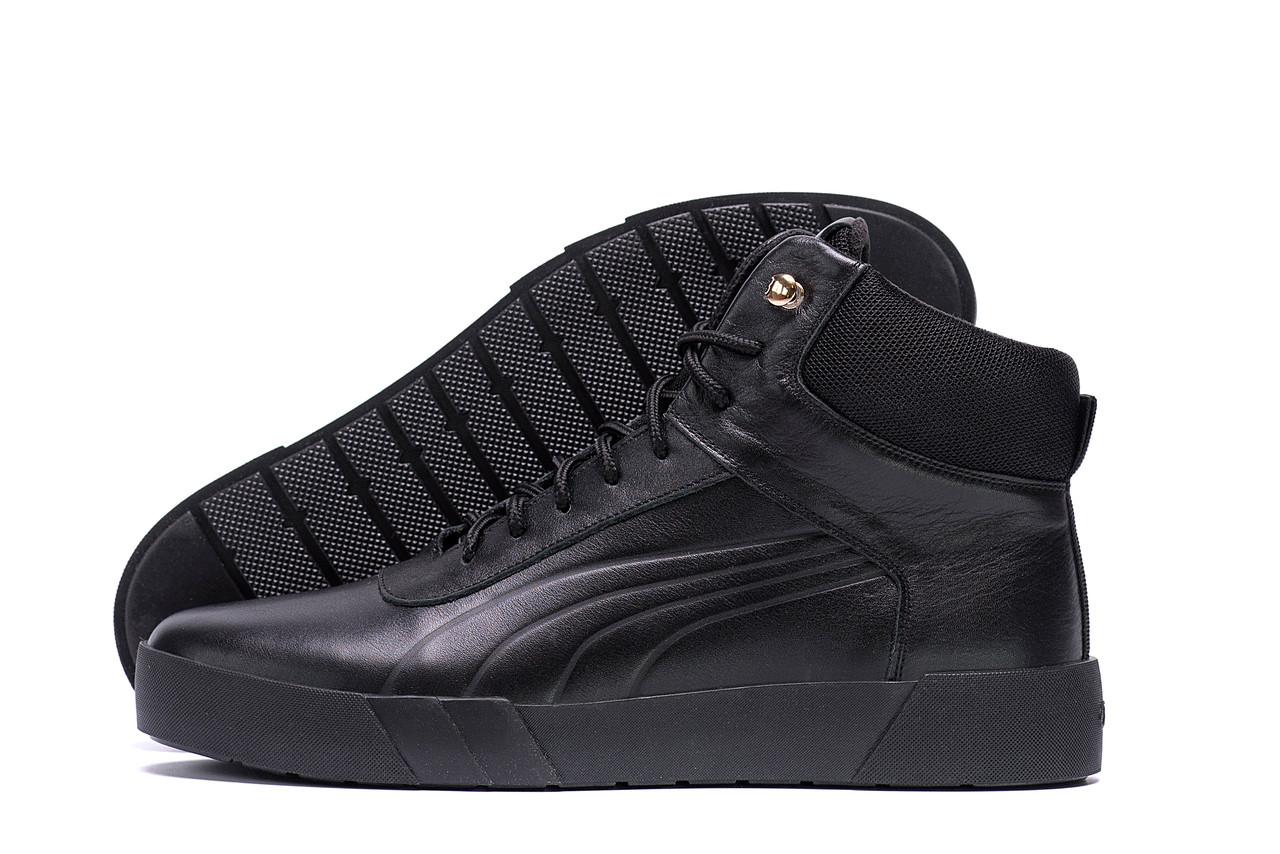 Высокие мужские зимние ботинки черного цвета кожаные Puma  (реплика)