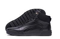 Высокие мужские зимние ботинки черного цвета кожаные Puma  (реплика), фото 1