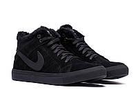 Мужские ботинки черного цвета замша Nike (реплика)