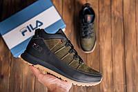 Кожаные мужские кроссовки зимние темно зеленые