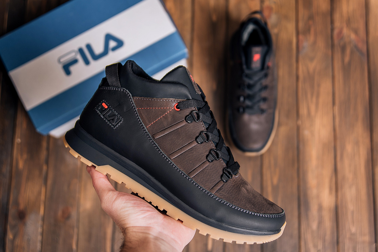 Мужские кожаные кроссовки -ботинки зимние коричневые