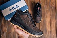 Мужские кожаные кроссовки -ботинки зимние коричневые, фото 1