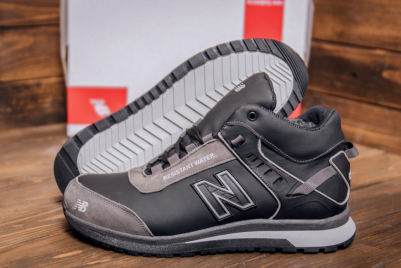 Фирменные кожаные мужские кроссовки серого цвета  NB (реплика)