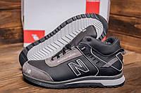 Фирменные кожаные мужские кроссовки серого цвета  NB (реплика), фото 1