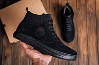Мужские высокие зимние ботинки в натуральной замше черного цвета