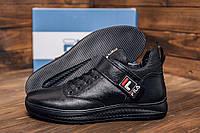 Зимние мужские ботинки черного цвета из кожи, фото 1