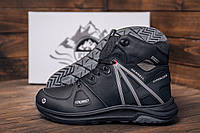 Кожаные мужские ботинки черного цвета на овчине, фото 1