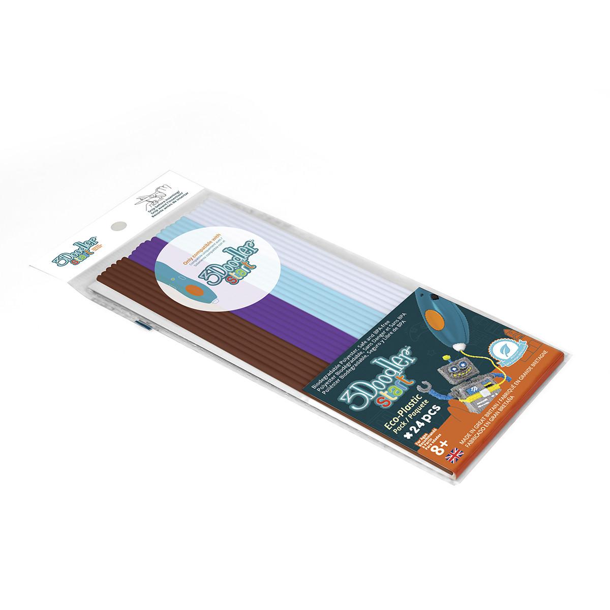 Набор Стержней Для 3D-Ручки - Микс (24 Шт: белый, голубой, коричневый, фиолето) 3Doodler Start 3DS-ECO-MIX5-24