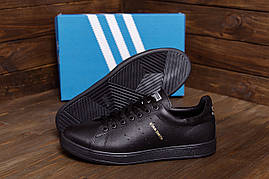Кросівки чоловічі класичні чорні зі шкіри Adidas (репліка)