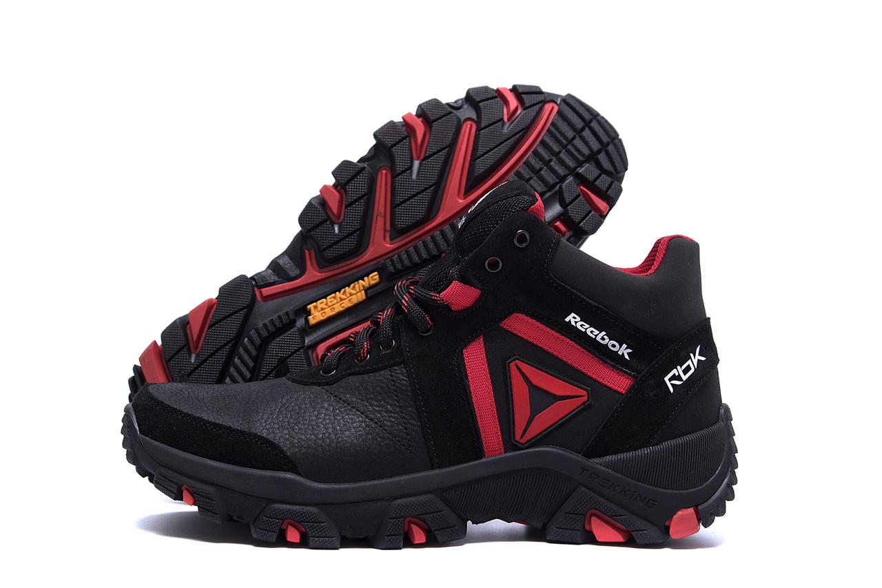 Спортивные мужские ботинки черного цвета на толстой подошве кожа для зимы Reebok Crossfit Red (реплика)
