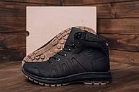Зимние мужские кожаные ботинки на толстой подошве Timberland Black leather (реплика), фото 1