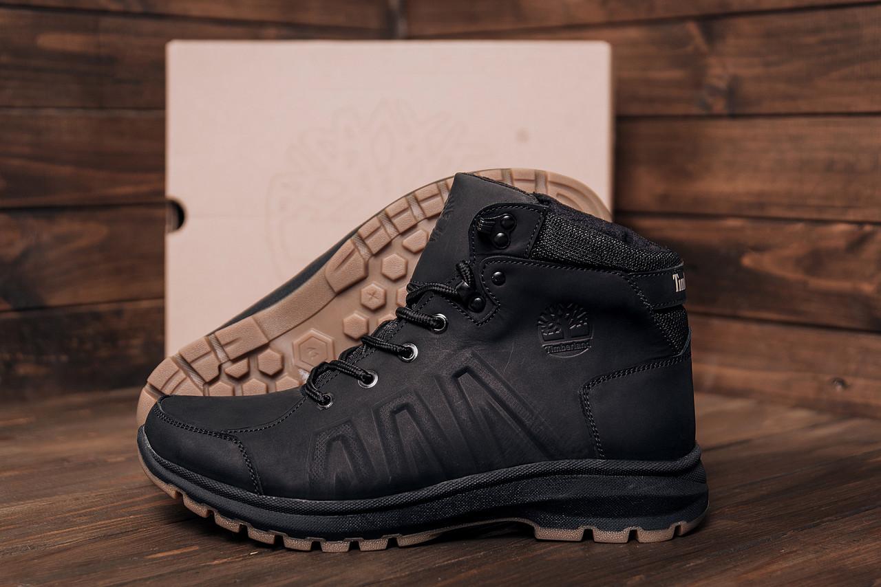 Зимние мужские кожаные ботинки на толстой подошве Timberland Black leather (реплика)