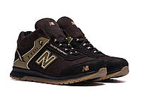 Зимние мужские кроссовки на овчине коричневого цвета NB Clasic Brown (реплика)