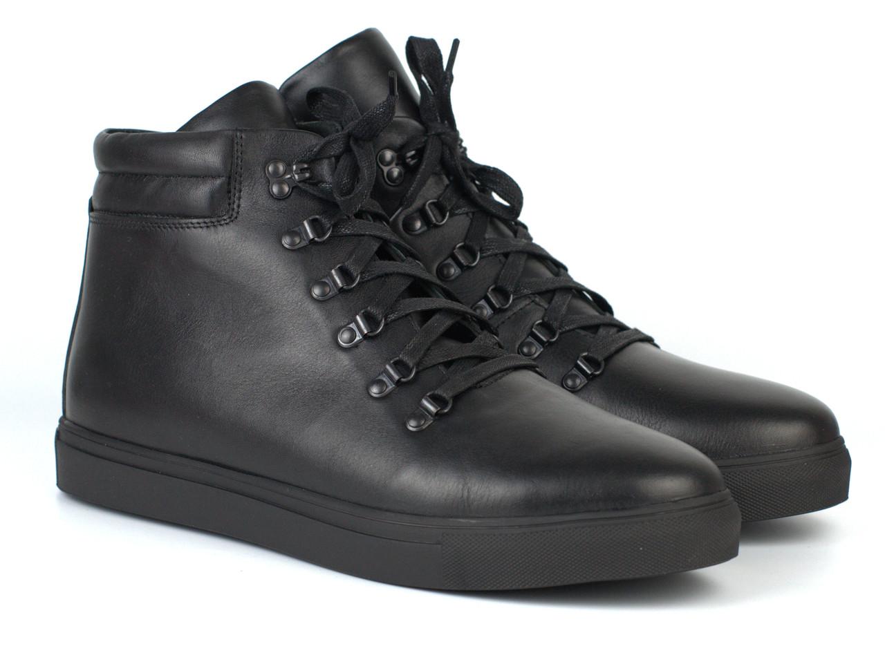Черевики чоловічі зимові чорні шкіряні на хутрі на блискавці взуття на широку стопу Rosso Avangard Ranger SL L Black