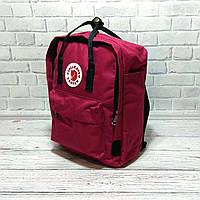 Молодежный рюкзак, сумка Fjallraven Kanken Classic, канкен класик. Бордовый с черным / 7104, фото 1