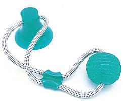 Интерактивная игрушка для собак и кошек  канат на присоске с мячом зелёный