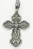 Крупный мужской крест серебряный с Распятием. Распятие Христово. Икона Спас Нерукотворный с предстоящими