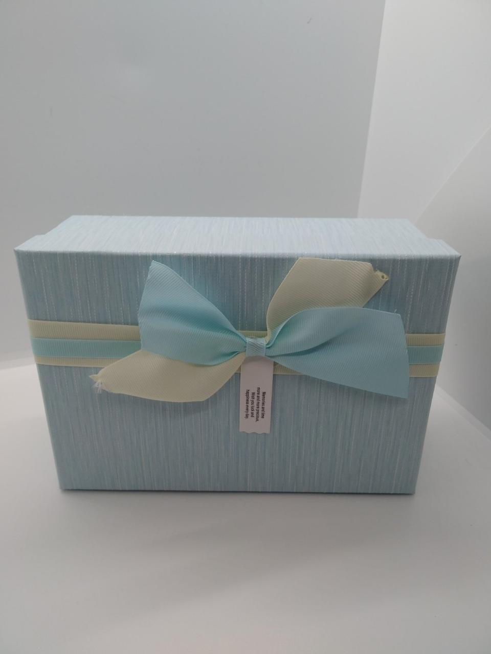 Подарочная коробка с крышкой прямоугольная голубая  ( 17.5 х 12 х 6.5 см) маленькая