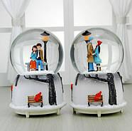 Снежный шар c автоснегом и подсветкой Влюбленные №2, фото 2