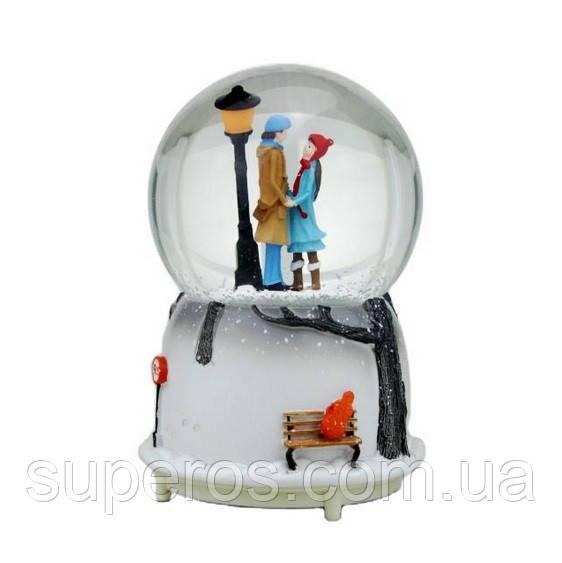 Снежный шар c автоснегом и подсветкой Влюбленные №1
