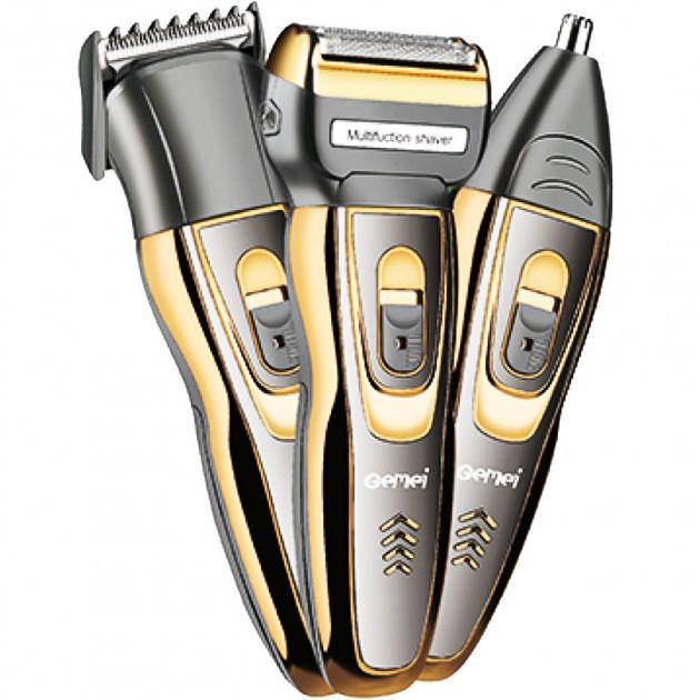 Бездротова машинка для стрижки волосся, вусів і бороди Gemei GM-595 Тример акумуляторний